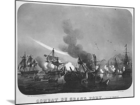 Naval Battle of Grand Port, Mauritius, in 1810-Louis Le Breton-Mounted Giclee Print