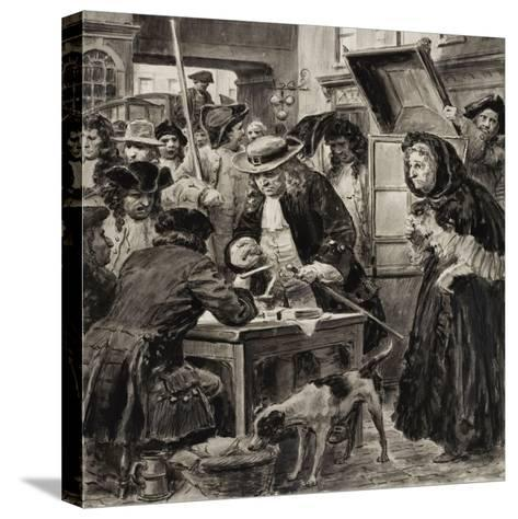 An Eighteenth Century Pawnbroker and His Customers-C.l. Doughty-Stretched Canvas Print