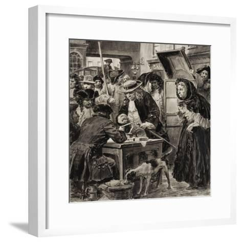 An Eighteenth Century Pawnbroker and His Customers-C.l. Doughty-Framed Art Print