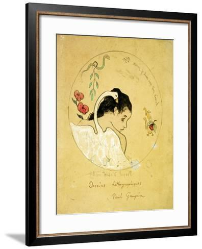 Design for a Plate - Leda and the Swan, 1889-Paul Gauguin-Framed Art Print