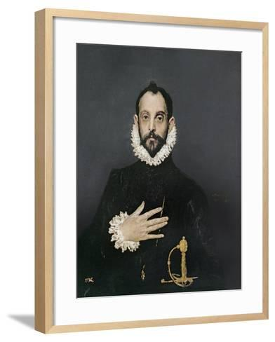 Gentleman with His Hand on His Chest, C.1580-El Greco-Framed Art Print