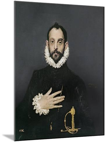 Gentleman with His Hand on His Chest, C.1580-El Greco-Mounted Giclee Print