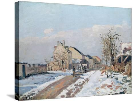 The Road from Gisors to Pontoise, Snow Effect, 1872-Camille Pissarro-Stretched Canvas Print