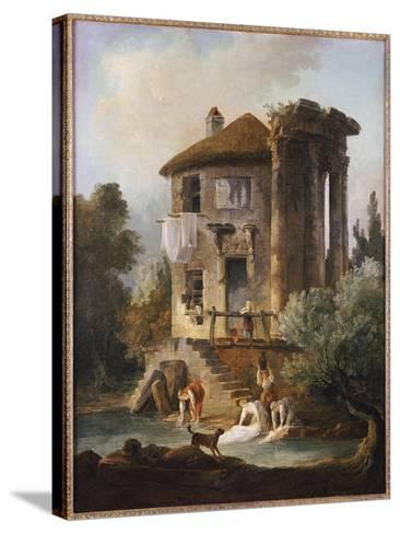 Washerwomen Outside the Temple of the Sibyl, Tivoli-Hubert Robert-Stretched Canvas Print