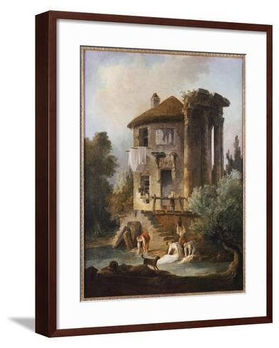 Washerwomen Outside the Temple of the Sibyl, Tivoli-Hubert Robert-Framed Art Print
