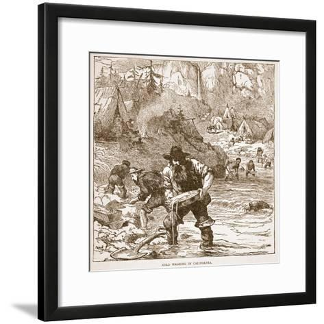 Gold Washing in California, from a Book Pub. 1896-American School-Framed Art Print