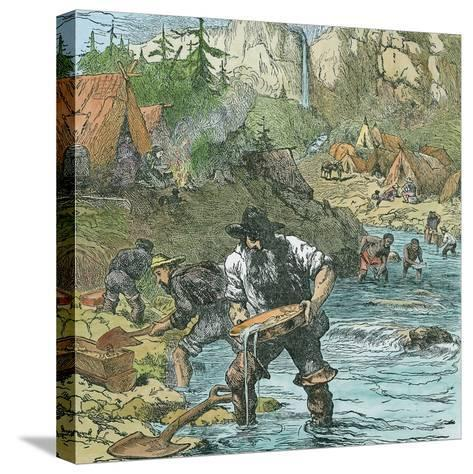 Gold Washing in California, from a Book Pub. 1896-American School-Stretched Canvas Print
