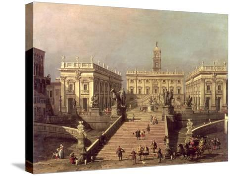 View of Piazza Del Campidoglio and Cordonata, Rome-Canaletto-Stretched Canvas Print