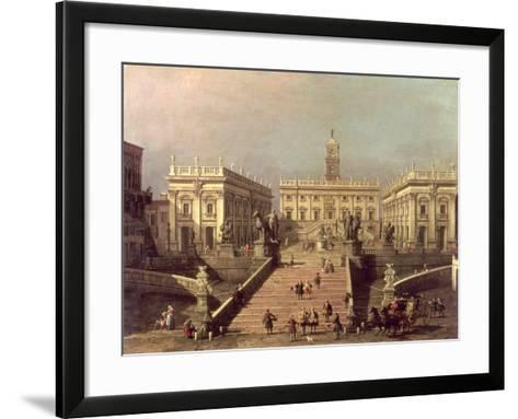 View of Piazza Del Campidoglio and Cordonata, Rome-Canaletto-Framed Art Print