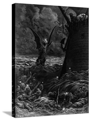 Death-Fires Dancing around the Becalmed Ship-Gustave Dor?-Stretched Canvas Print