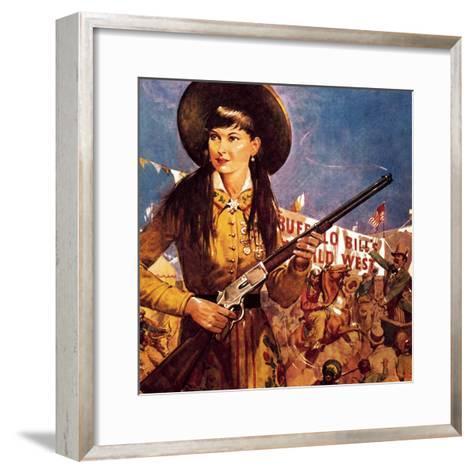 Sharpshooter Annie -- Annie Oakley and Her Gun-McConnell-Framed Art Print