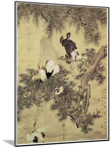 Eight Red-Crested Herons in a Pine Tree, 1754-Hua Yan-Mounted Giclee Print