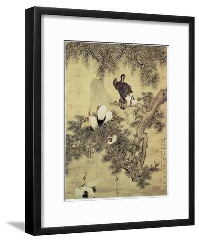Eight Red-Crested Herons in a Pine Tree, 1754-Hua Yan-Framed Art Print