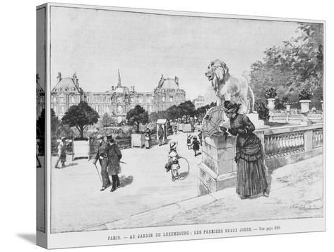 Jardin of Luxembourg, the First Fine Days, C.1870-80-French School-Stretched Canvas Print