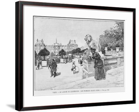 Jardin of Luxembourg, the First Fine Days, C.1870-80-French School-Framed Art Print