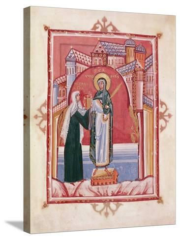 The Abbess Hilda Offering the Gospel to St. Walburga-German School-Stretched Canvas Print