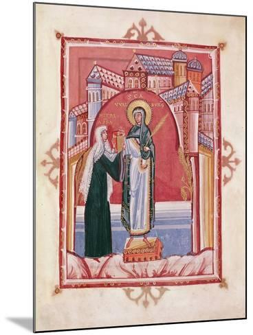 The Abbess Hilda Offering the Gospel to St. Walburga-German School-Mounted Giclee Print