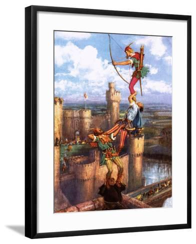 Robin Hood Shooting into Nottingham Castle-John Millar Watt-Framed Art Print