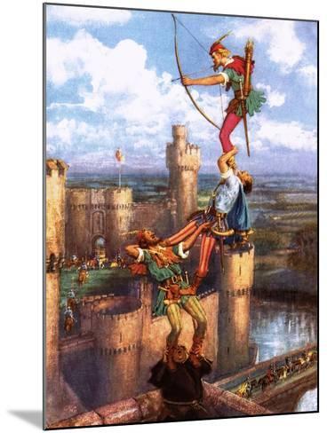 Robin Hood Shooting into Nottingham Castle-John Millar Watt-Mounted Giclee Print
