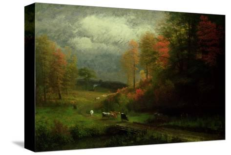 Rainy Day in Autumn, Massachusetts, 1857-Albert Bierstadt-Stretched Canvas Print