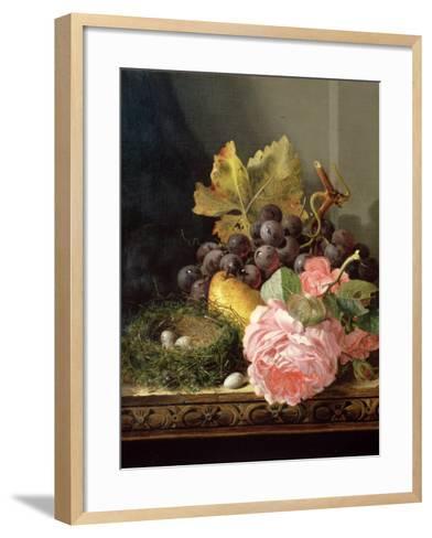 Still Life, Roses, Fruit and Bird's Nest-Edward Ladell-Framed Art Print