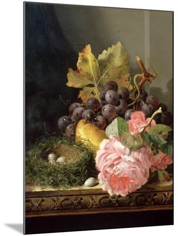 Still Life, Roses, Fruit and Bird's Nest-Edward Ladell-Mounted Giclee Print