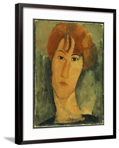 Young Woman with Red Hair Wearing a Collar-Amedeo Modigliani-Framed Art Print
