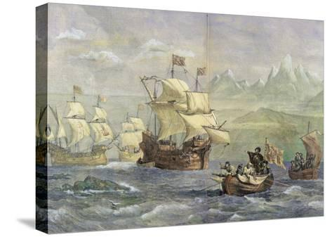 The Discovery of the Strait of Magellan-Oswald Walter Brierly-Stretched Canvas Print