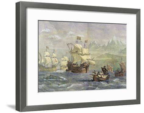 The Discovery of the Strait of Magellan-Oswald Walter Brierly-Framed Art Print