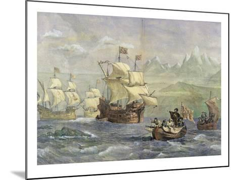 The Discovery of the Strait of Magellan-Oswald Walter Brierly-Mounted Giclee Print