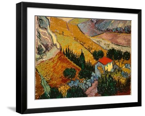 Landscape with House and Ploughman, 1889-Vincent van Gogh-Framed Art Print