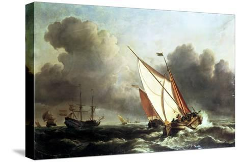 Dutch Shipping Offshore in a Rising Gale-Willem Van De, The Younger Velde-Stretched Canvas Print