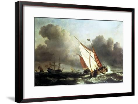Dutch Shipping Offshore in a Rising Gale-Willem Van De, The Younger Velde-Framed Art Print