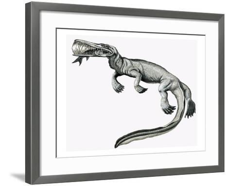 Prehistoric Crocodile Eating a Fish-Helen Haywood-Framed Art Print