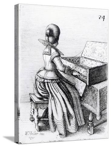 Woman Playing at a Keyboard, 1635-Wenceslaus Hollar-Stretched Canvas Print