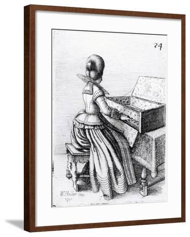 Woman Playing at a Keyboard, 1635-Wenceslaus Hollar-Framed Art Print
