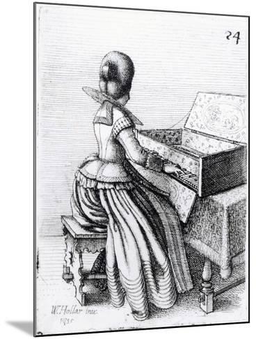 Woman Playing at a Keyboard, 1635-Wenceslaus Hollar-Mounted Giclee Print