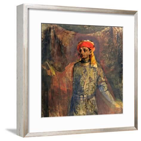 Portrait of Mikhail Kuzmin, 1911-12-Nikolai Sapunov-Framed Art Print