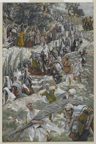 The Procession on the Mount of Olives-James Tissot-Stretched Canvas Print