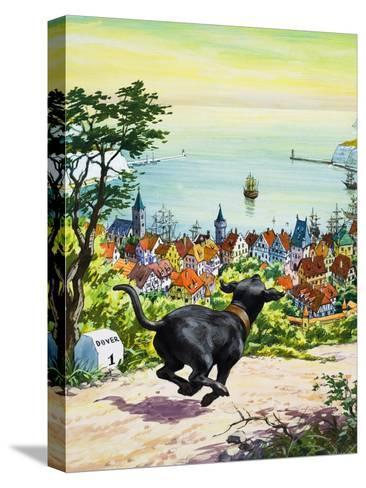 Dog Running to Find His Master, 1969-English School-Stretched Canvas Print