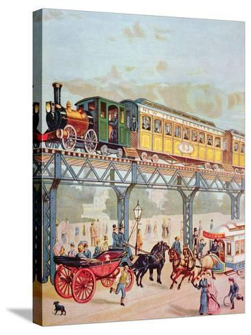 New York Elevated Railway, C.1880-American School-Stretched Canvas Print