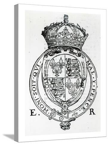 Coat of Arms of Queen Elizabeth I-English School-Stretched Canvas Print