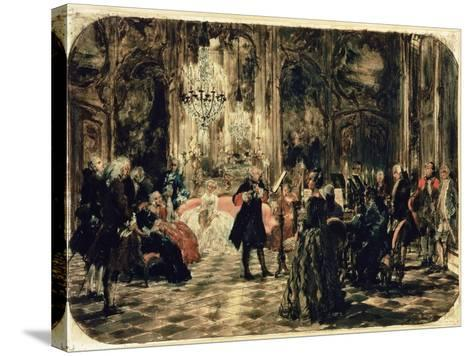 Sketch for the Flute Concert, 1852-Adolph von Menzel-Stretched Canvas Print