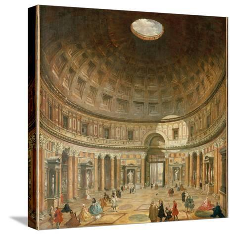The Interior of the Pantheon, Rome-Giovanni Paolo Pannini-Stretched Canvas Print