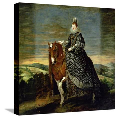 Portrait of Queen Margaret of Austria-Diego Velazquez-Stretched Canvas Print