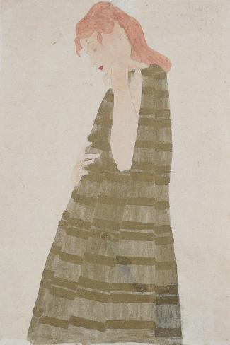 Standing Woman in a Golden Dress-Egon Schiele-Stretched Canvas Print