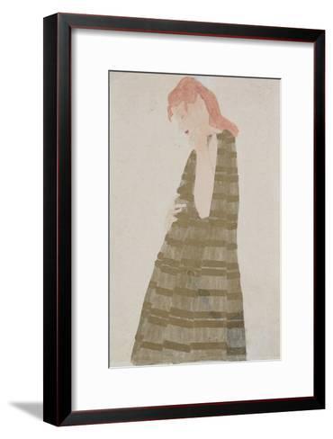 Standing Woman in a Golden Dress-Egon Schiele-Framed Art Print
