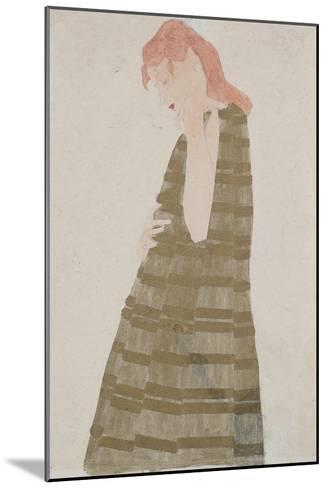 Standing Woman in a Golden Dress-Egon Schiele-Mounted Giclee Print
