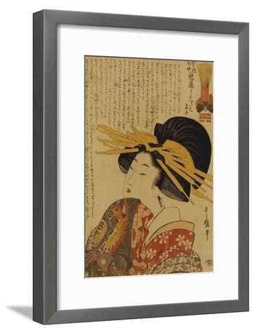 A Courtesan Raising Her Sleeve-Kitagawa Utamaro-Framed Art Print