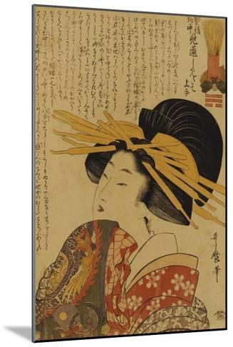 A Courtesan Raising Her Sleeve-Kitagawa Utamaro-Mounted Giclee Print